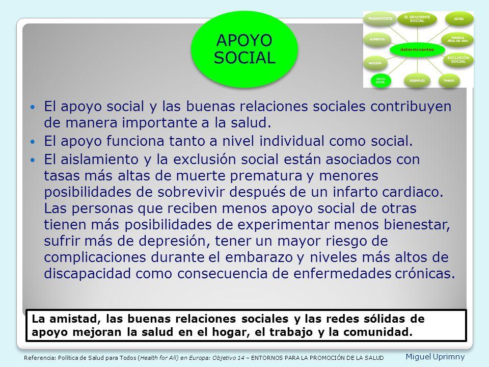 APOYO SOCIAL determinantes. EL GRADIENTE SOCIAL. ESTRÉS. PRIMEROS AÑOS DE VIDA. EXCLUSIÓN SOCIAL.