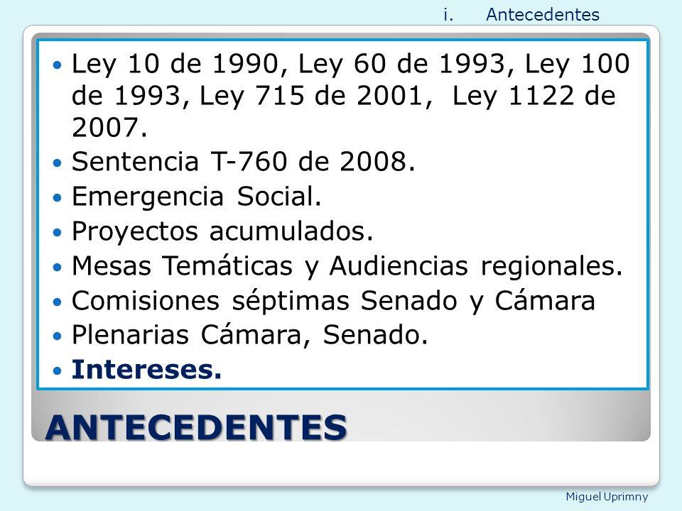 Antecedentes Ley 10 de 1990, Ley 60 de 1993, Ley 100 de 1993, Ley 715 de 2001, Ley 1122 de 2007.
