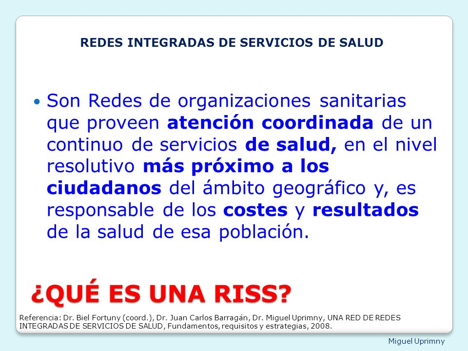 REDES INTEGRADAS DE SERVICIOS DE SALUD