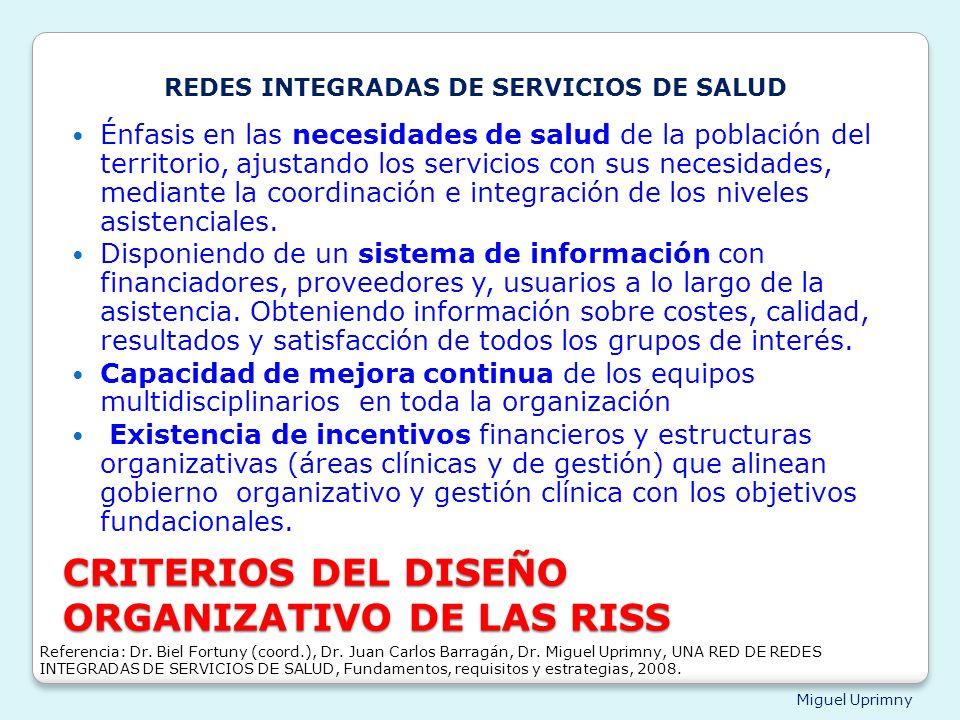 CRITERIOS DEL DISEÑO ORGANIZATIVO DE LAS RISS