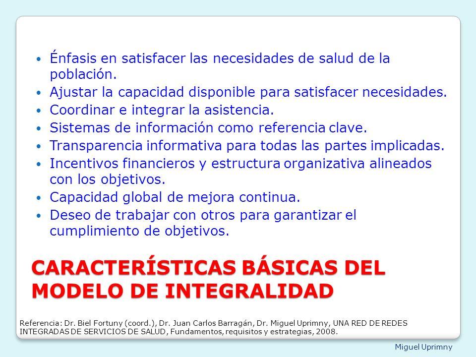 CARACTERÍSTICAS BÁSICAS DEL MODELO DE INTEGRALIDAD