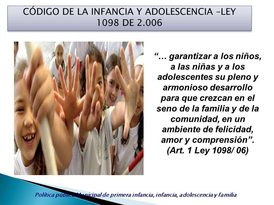 CÓDIGO DE LA INFANCIA Y ADOLESCENCIA –LEY 1098 DE 2.006