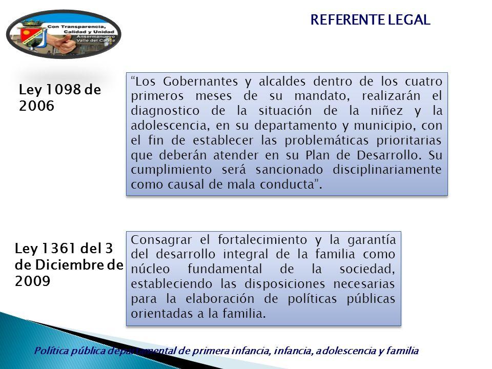 REFERENTE LEGAL Ley 1098 de 2006 Ley 1361 del 3 de Diciembre de 2009