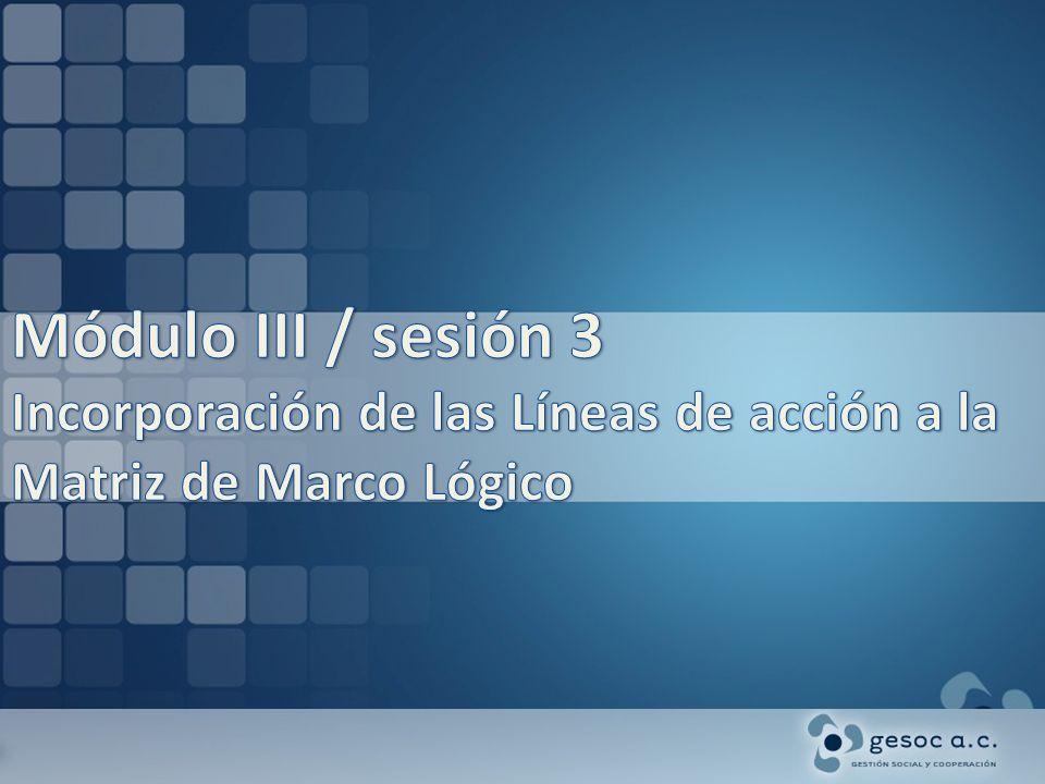 Módulo III / sesión 3 Incorporación de las Líneas de acción a la Matriz de Marco Lógico
