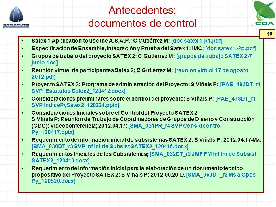 Antecedentes; documentos de control