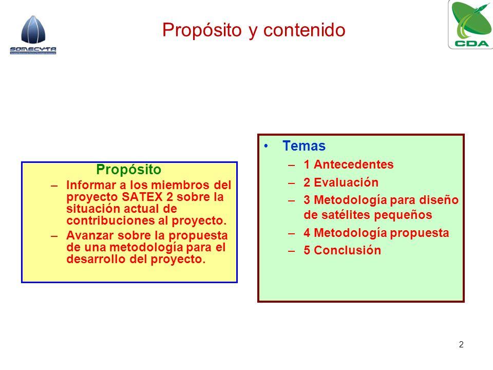 Propósito y contenido Temas Propósito 1 Antecedentes 2 Evaluación