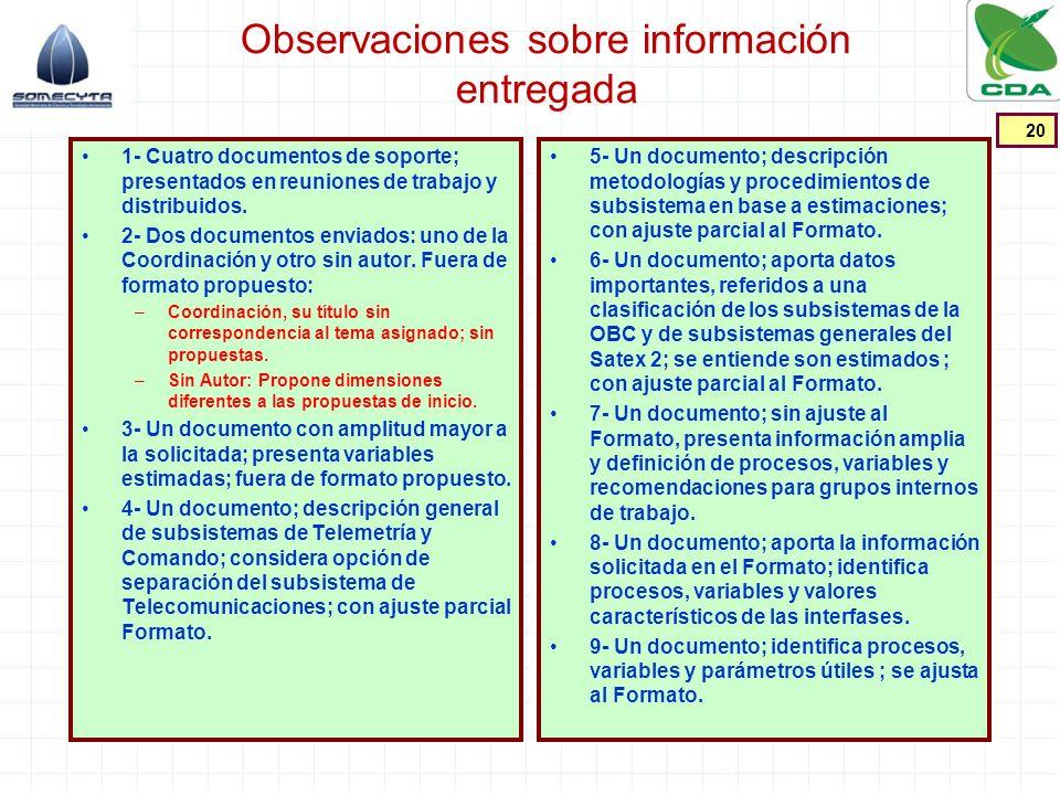 Observaciones sobre información entregada