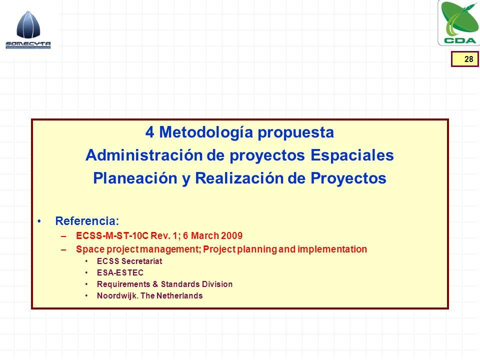 4 Metodología propuesta Administración de proyectos Espaciales