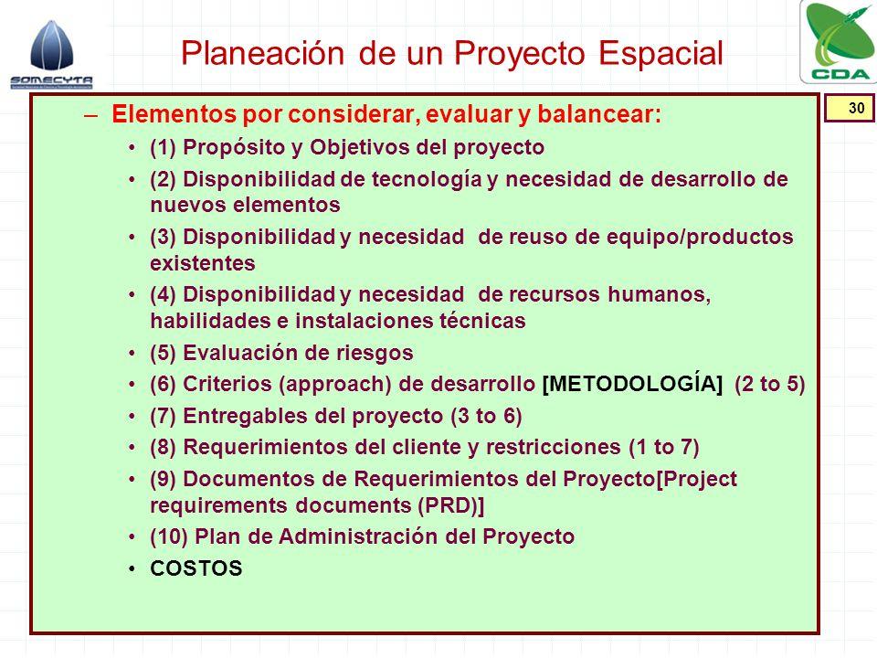 Planeación de un Proyecto Espacial