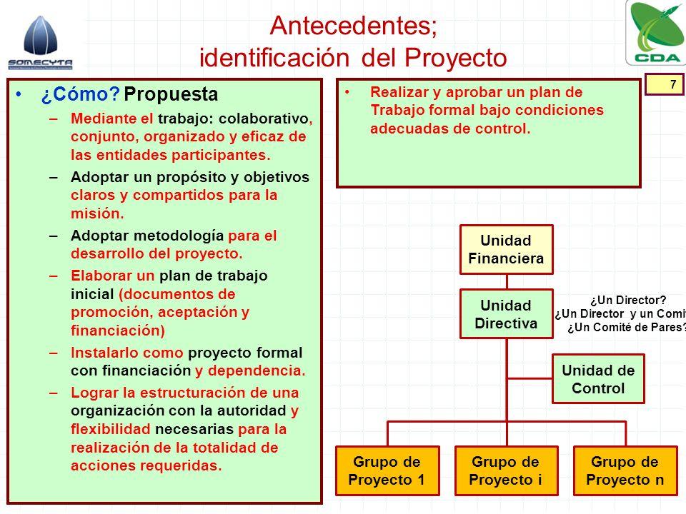 Antecedentes; identificación del Proyecto