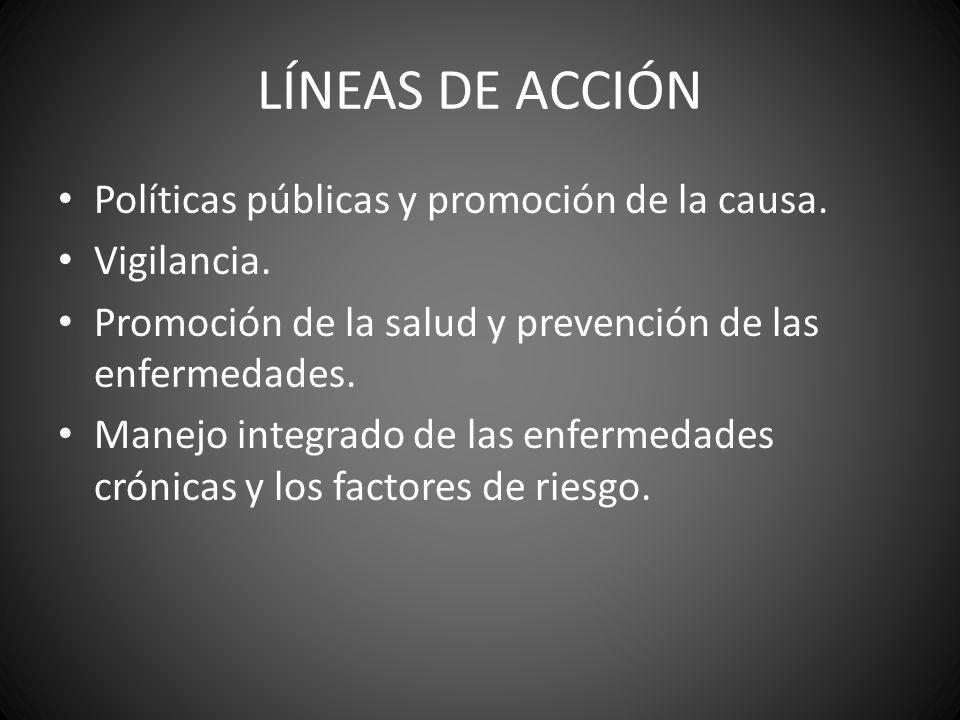 LÍNEAS DE ACCIÓN Políticas públicas y promoción de la causa.