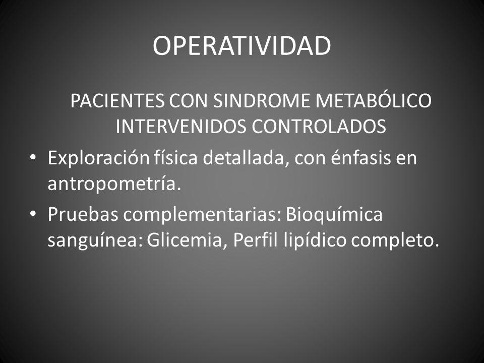 PACIENTES CON SINDROME METABÓLICO INTERVENIDOS CONTROLADOS