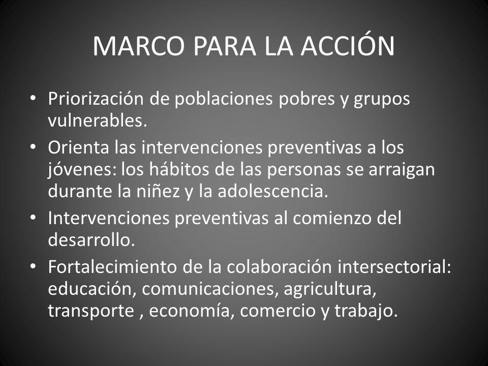 MARCO PARA LA ACCIÓN Priorización de poblaciones pobres y grupos vulnerables.