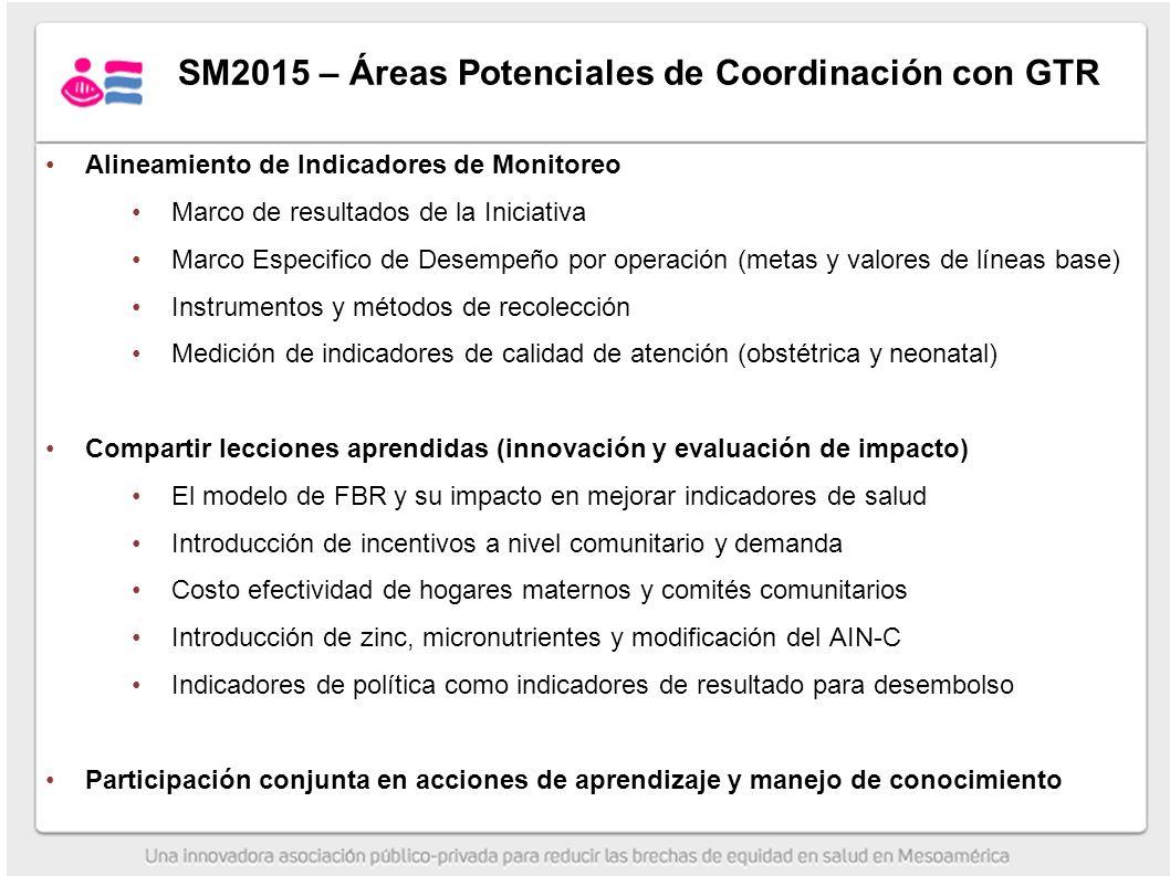 SM2015 – Áreas Potenciales de Coordinación con GTR