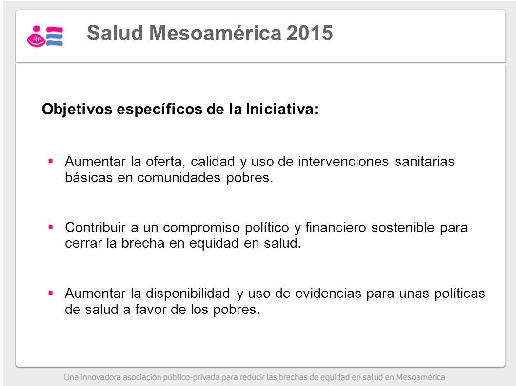 Salud Mesoamérica 2015 Objetivos específicos de la Iniciativa:
