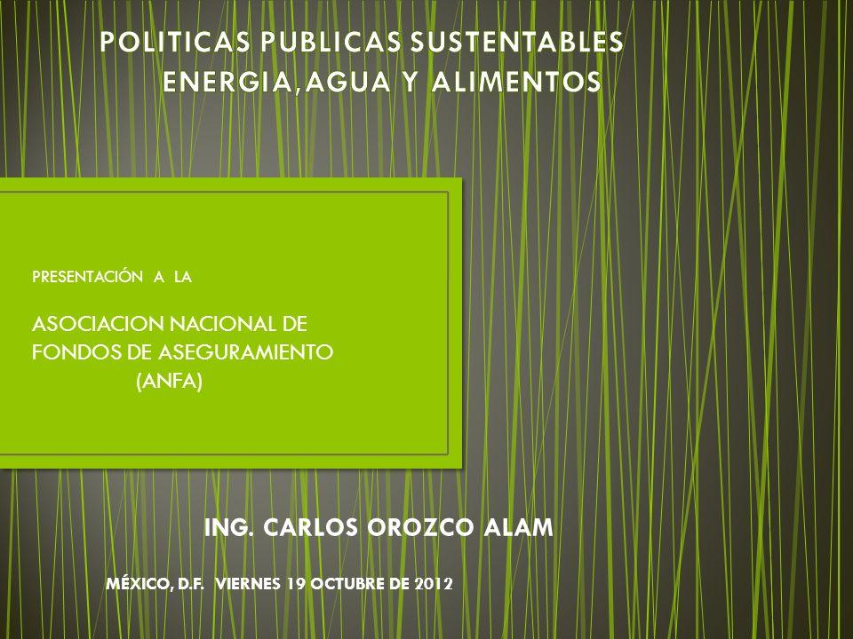 POLITICAS PUBLICAS SUSTENTABLES ENERGIA,AGUA Y ALIMENTOS