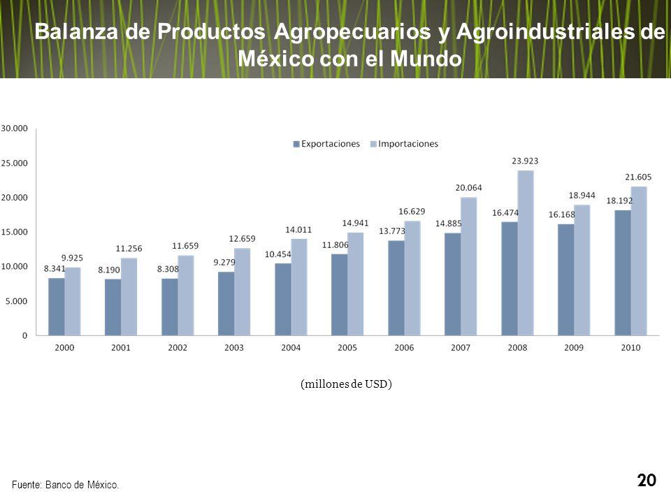 Balanza de Productos Agropecuarios y Agroindustriales de México con el Mundo