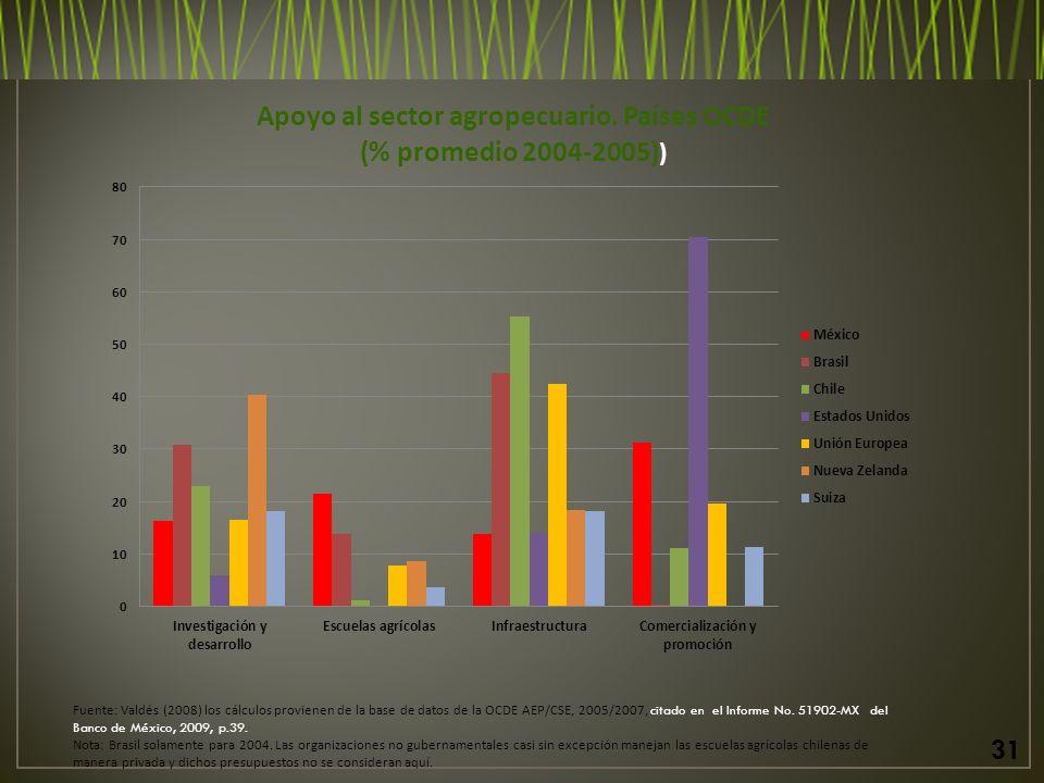 Fuente: Valdés (2008) los cálculos provienen de la base de datos de la OCDE AEP/CSE, 2005/2007, citado en el Informe No.