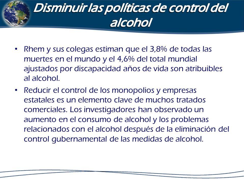 Disminuir las políticas de control del alcohol
