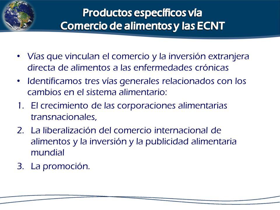 Productos específicos vía Comercio de alimentos y las ECNT