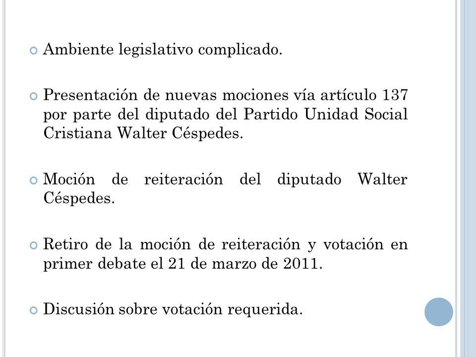 Ambiente legislativo complicado.