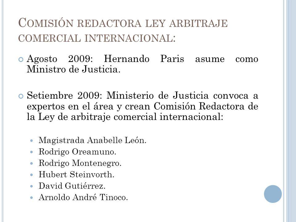 Comisión redactora ley arbitraje comercial internacional: