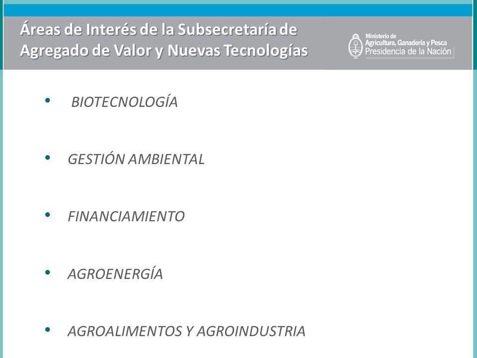 Áreas de Interés de la Subsecretaría de