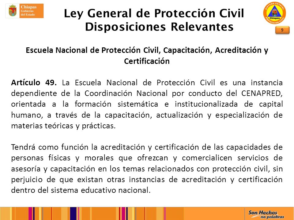 Ley General de Protección Civil Disposiciones Relevantes