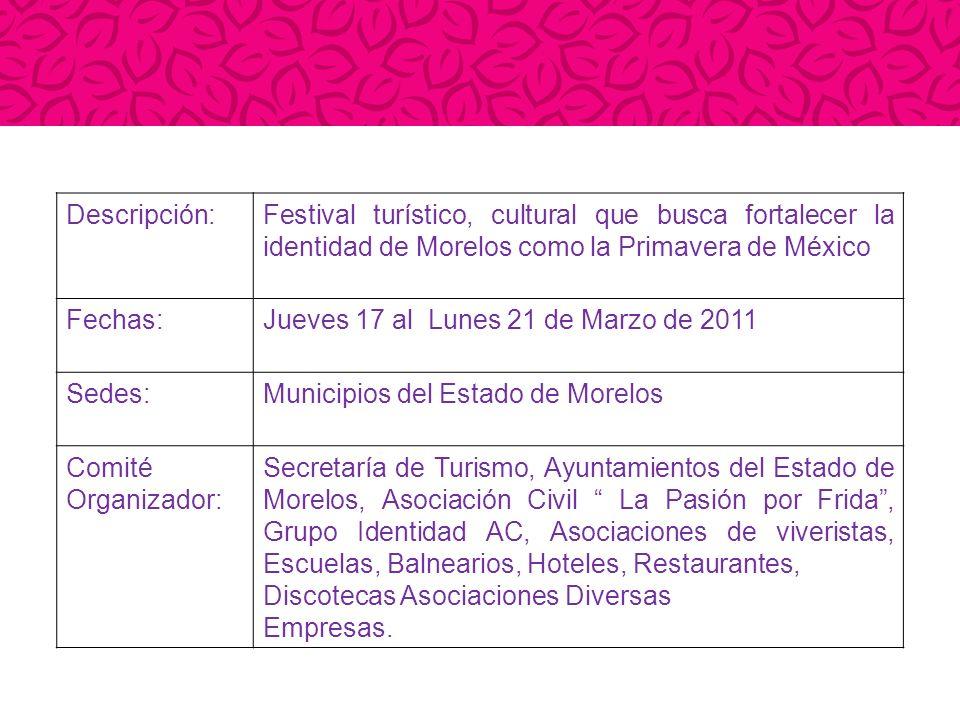 Descripción: Festival turístico, cultural que busca fortalecer la identidad de Morelos como la Primavera de México.
