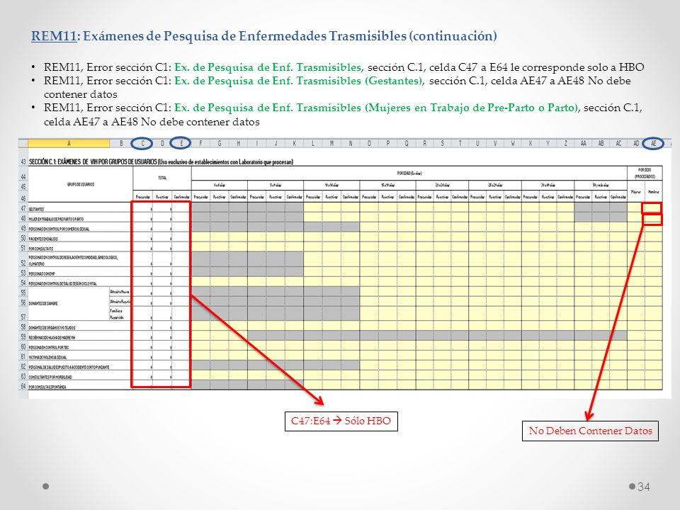 REM11: Exámenes de Pesquisa de Enfermedades Trasmisibles (continuación)