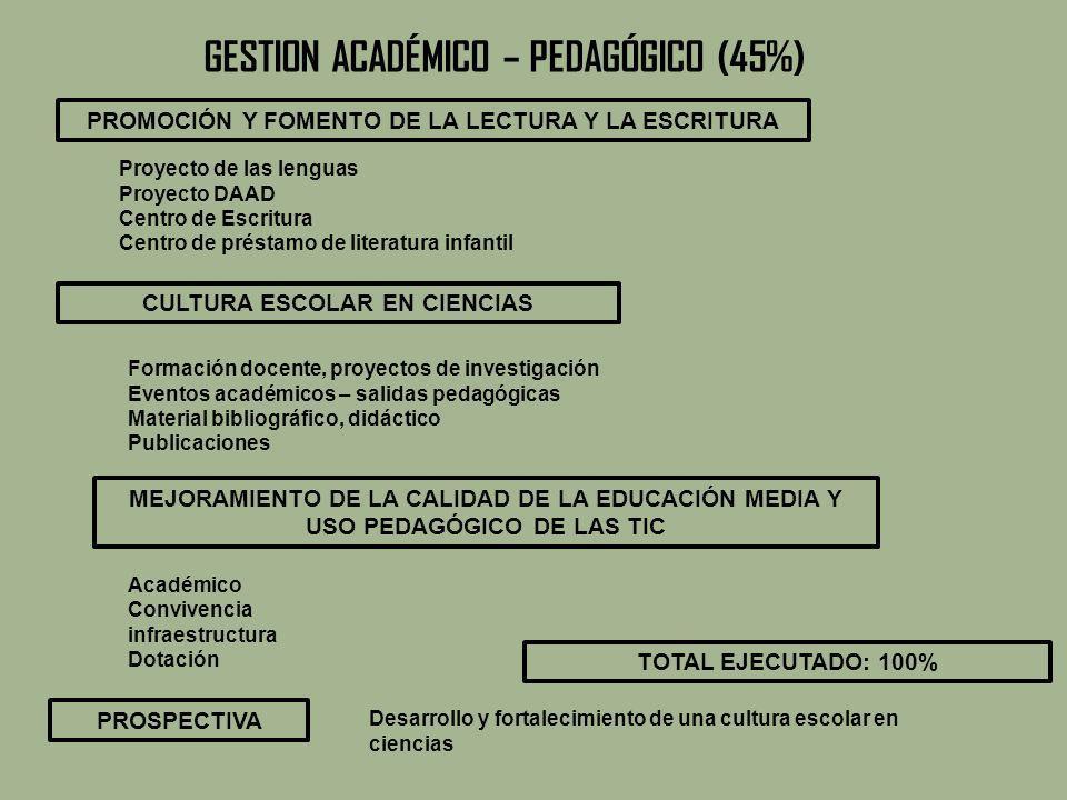 GESTION ACADÉMICO – PEDAGÓGICO (45%)