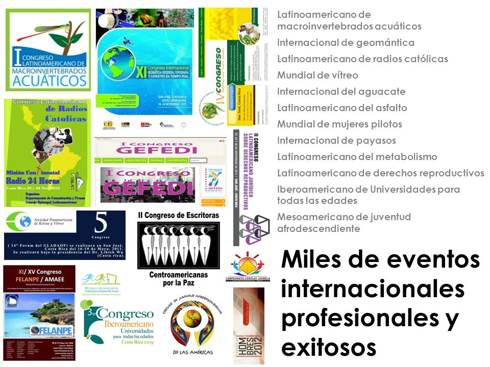 Miles de eventos internacionales profesionales y exitosos
