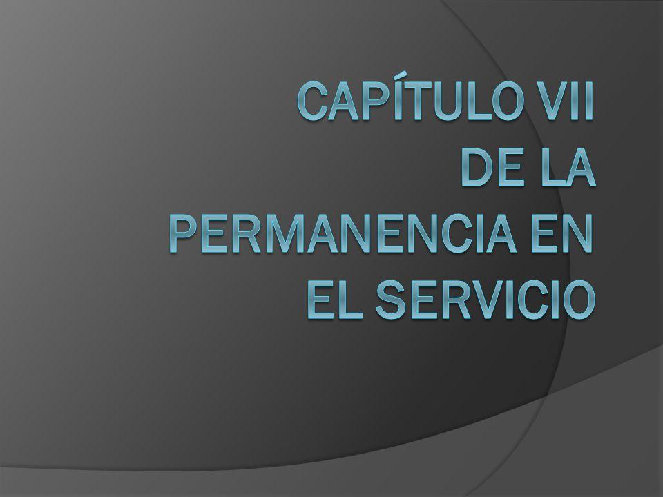 Capítulo VII De la permanencia en el Servicio