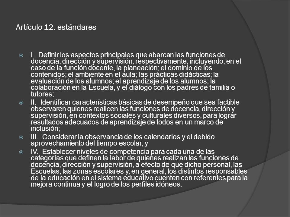 Artículo 12. estándares