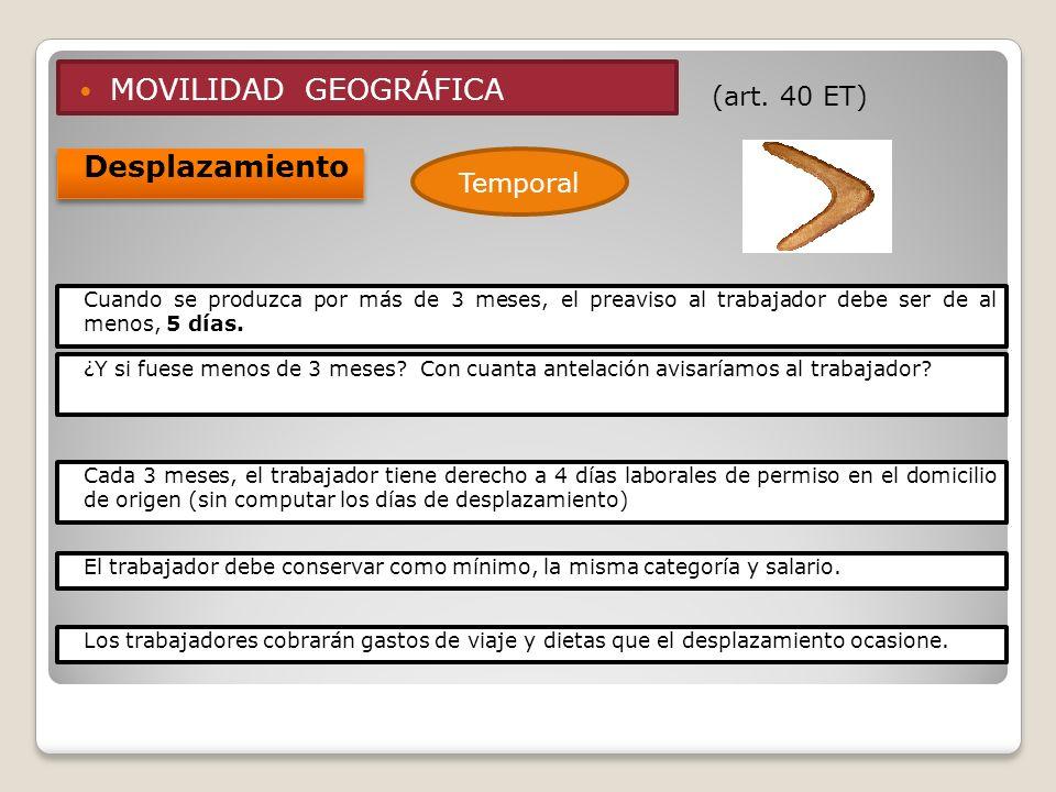 MOVILIDAD GEOGRÁFICA Desplazamiento (art. 40 ET) Temporal