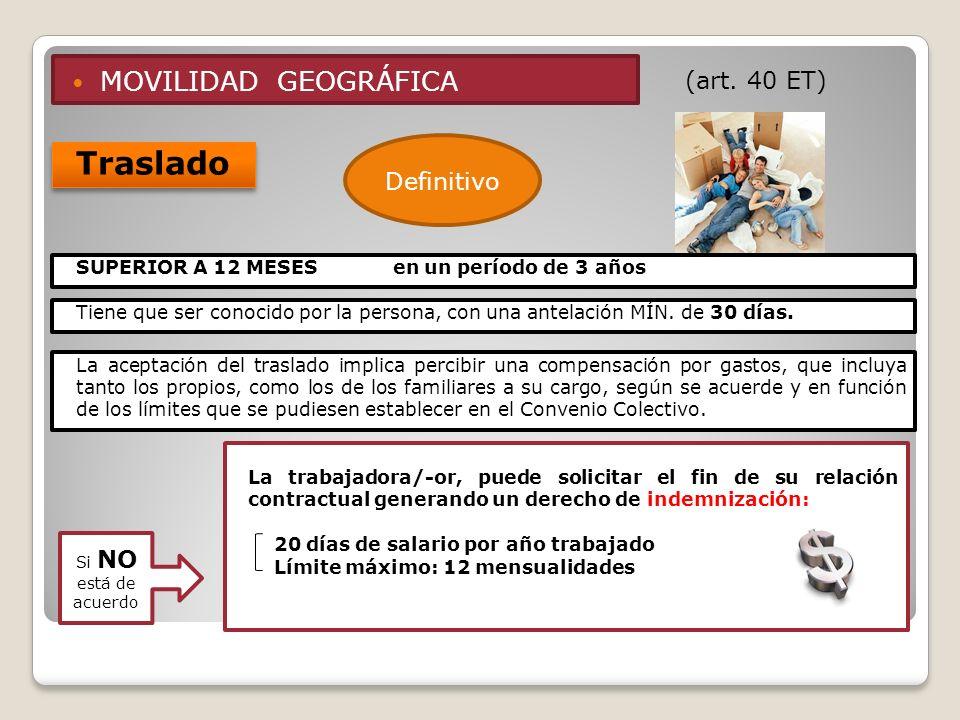 Traslado MOVILIDAD GEOGRÁFICA (art. 40 ET) Definitivo