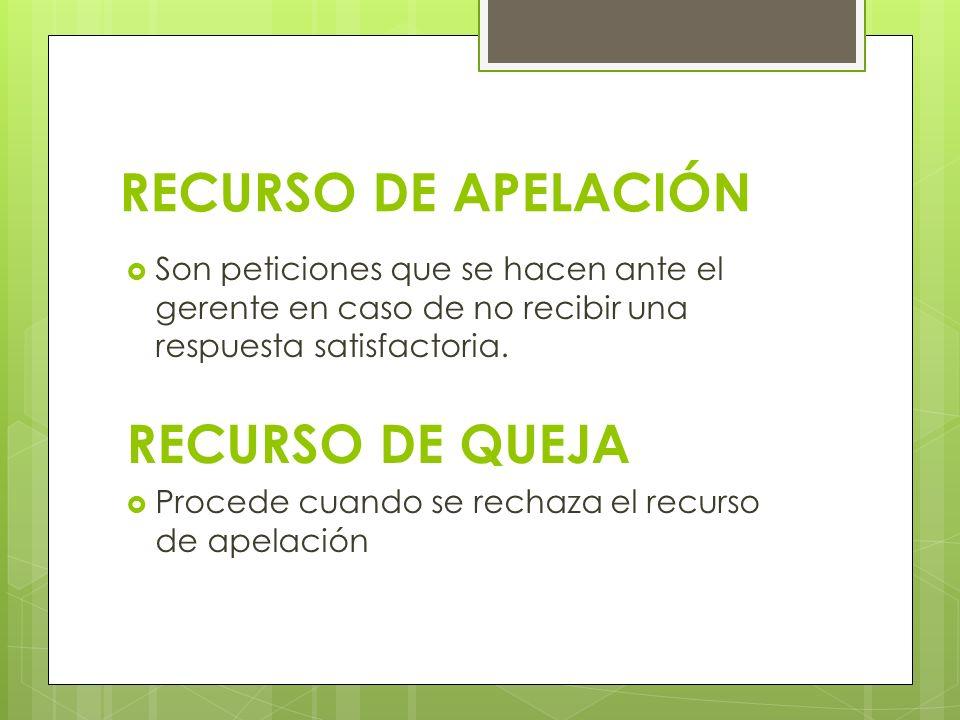 RECURSO DE APELACIÓN RECURSO DE QUEJA