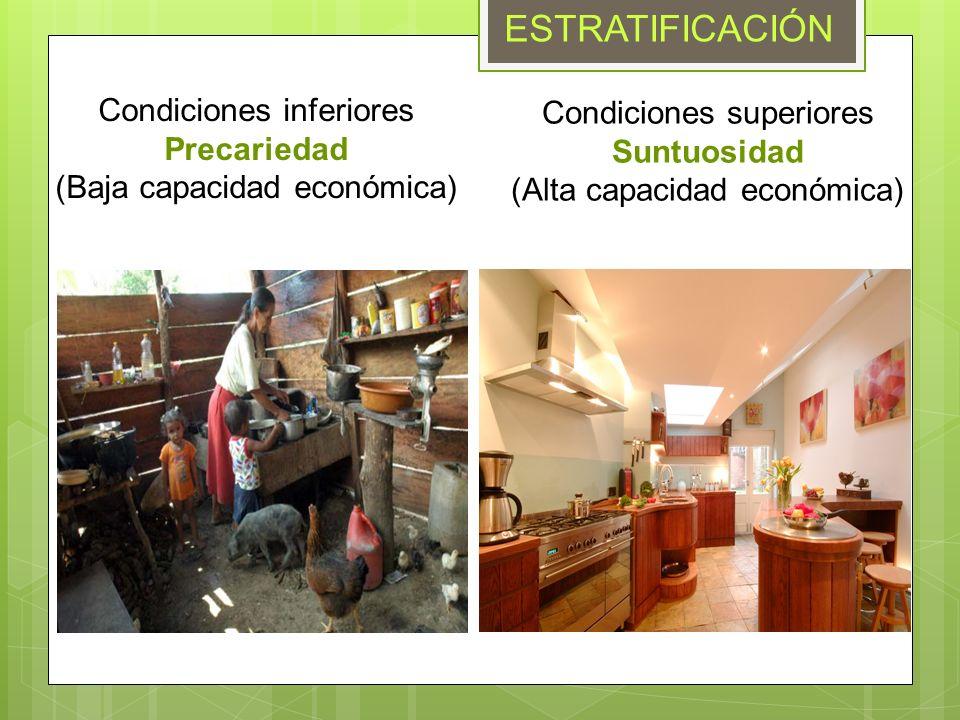 ESTRATIFICACIÓN Condiciones inferiores Condiciones superiores
