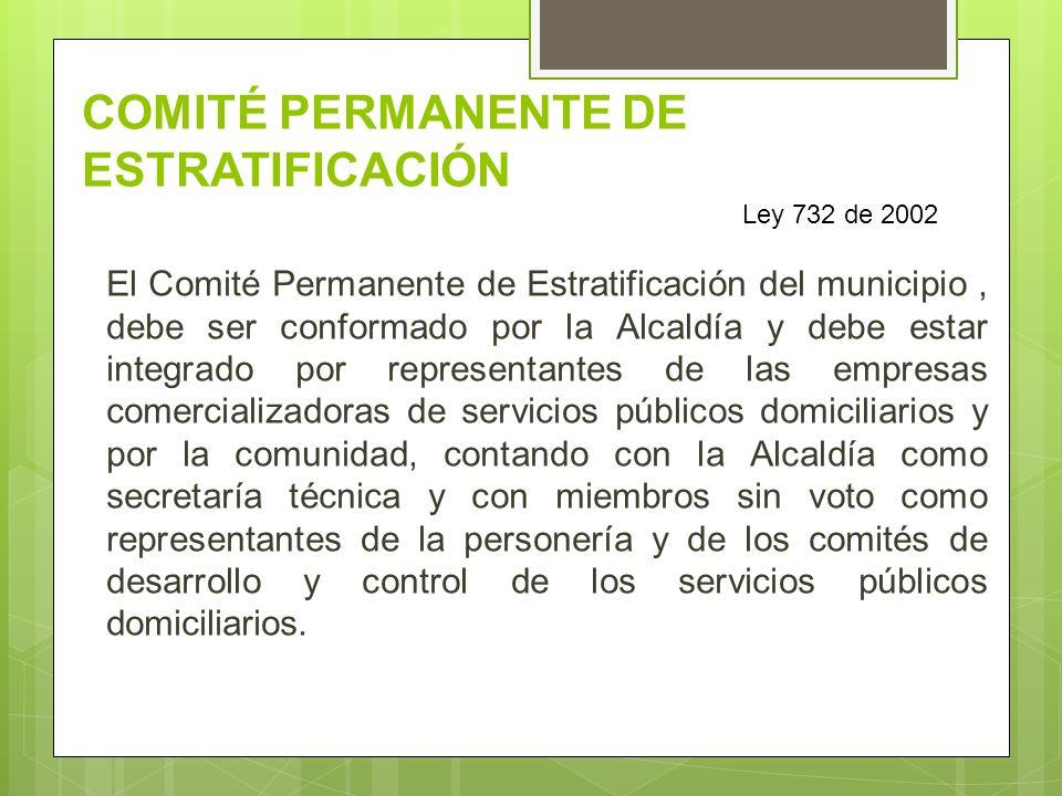 COMITÉ PERMANENTE DE ESTRATIFICACIÓN