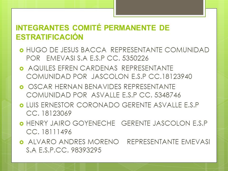 INTEGRANTES COMITÉ PERMANENTE DE ESTRATIFICACIÓN