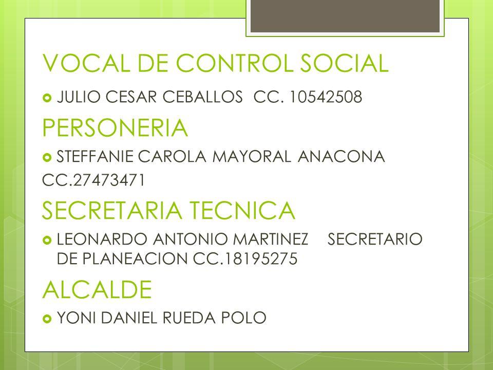 VOCAL DE CONTROL SOCIAL