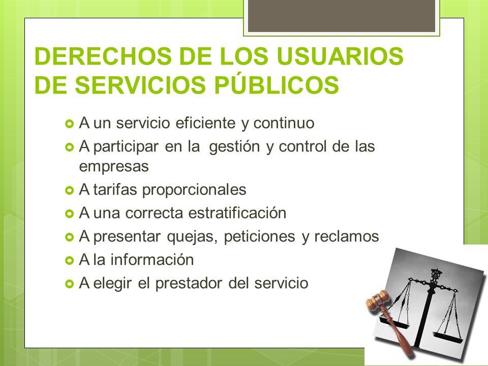 DERECHOS DE LOS USUARIOS DE SERVICIOS PÚBLICOS