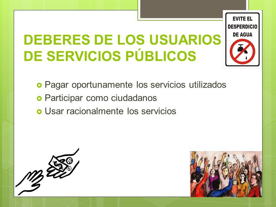 DEBERES DE LOS USUARIOS DE SERVICIOS PÚBLICOS