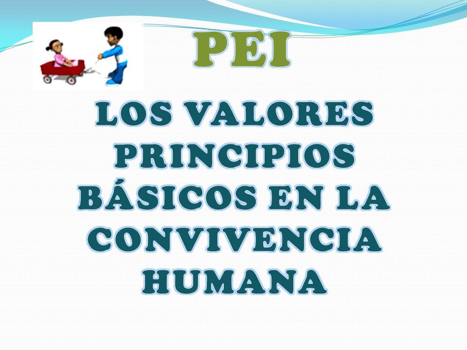LOS VALORES PRINCIPIOS BÁSICOS EN LA CONVIVENCIA HUMANA