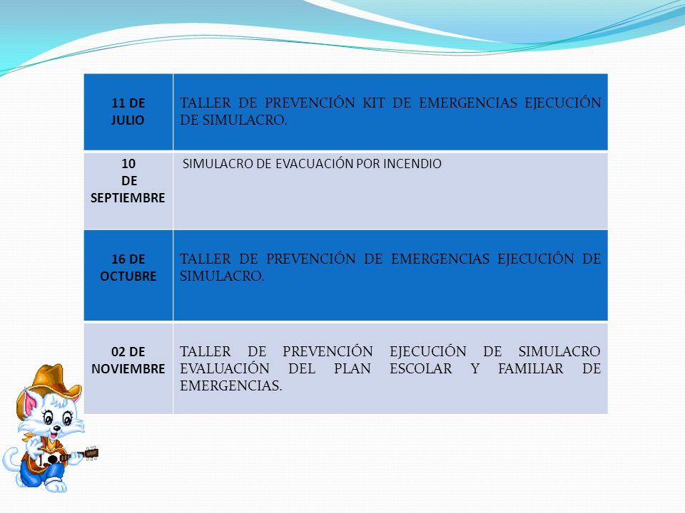 11 DE JULIO. TALLER DE PREVENCIÓN KIT DE EMERGENCIAS EJECUCIÓN DE SIMULACRO. 10. DE. SEPTIEMBRE.