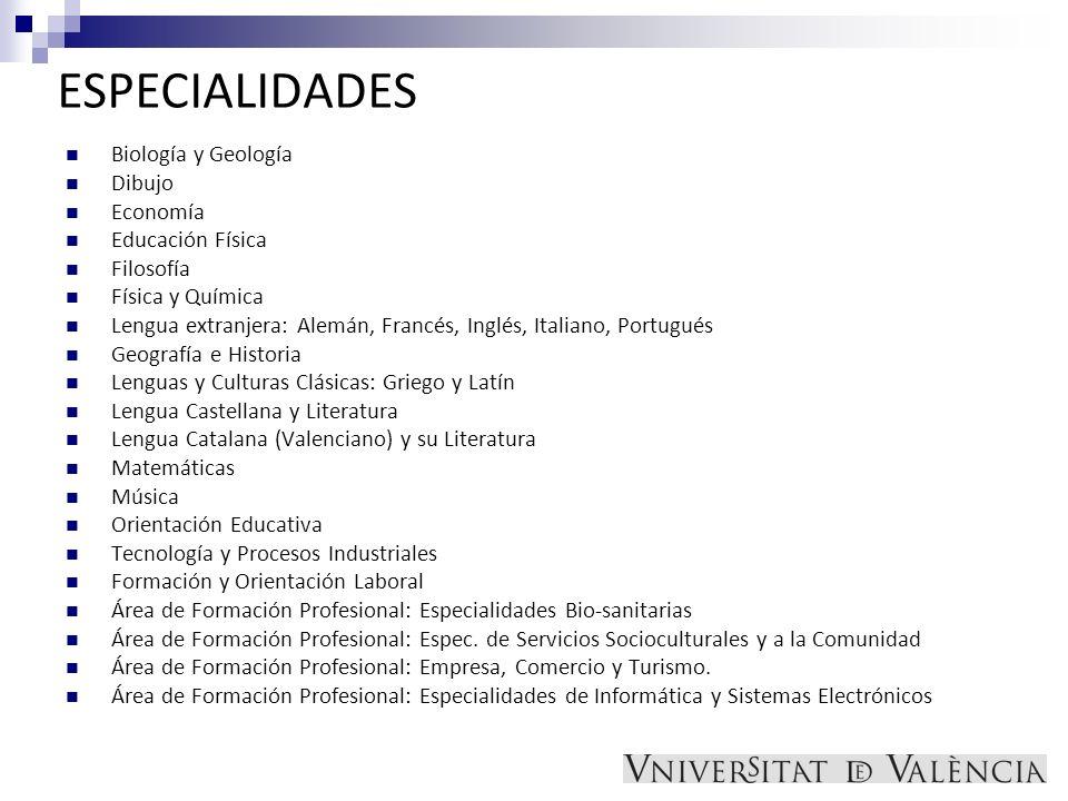 ESPECIALIDADES Biología y Geología Dibujo Economía Educación Física