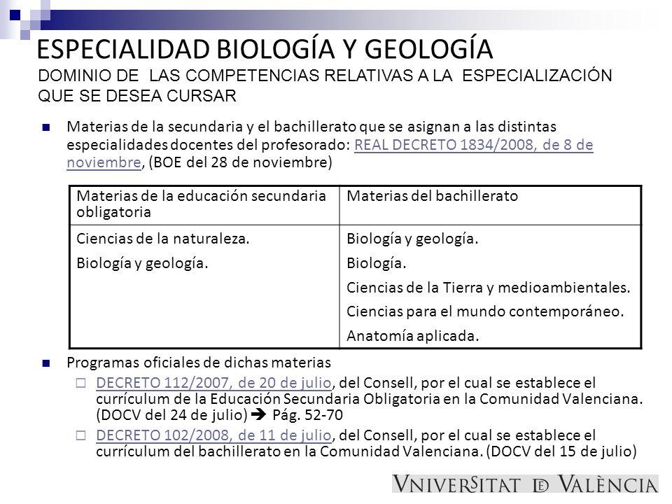 ESPECIALIDAD BIOLOGÍA Y GEOLOGÍA