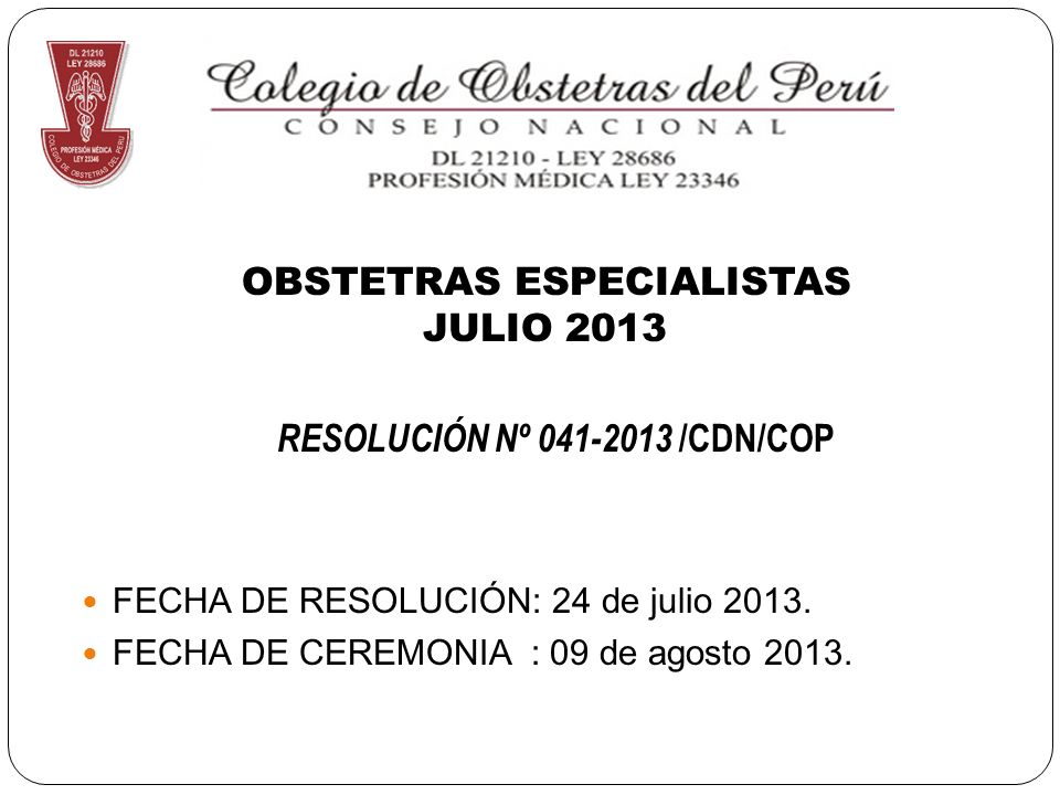 OBSTETRAS ESPECIALISTAS JULIO 2013