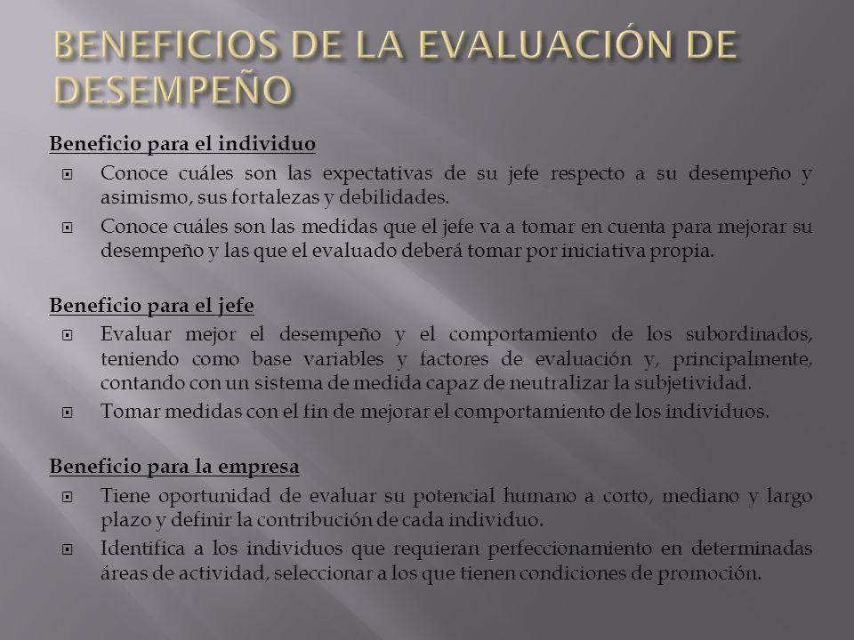 BENEFICIOS DE LA EVALUACIÓN DE DESEMPEÑO