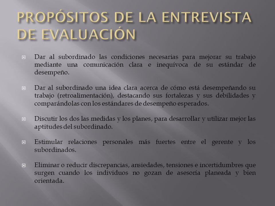 PROPÓSITOS DE LA ENTREVISTA DE EVALUACIÓN